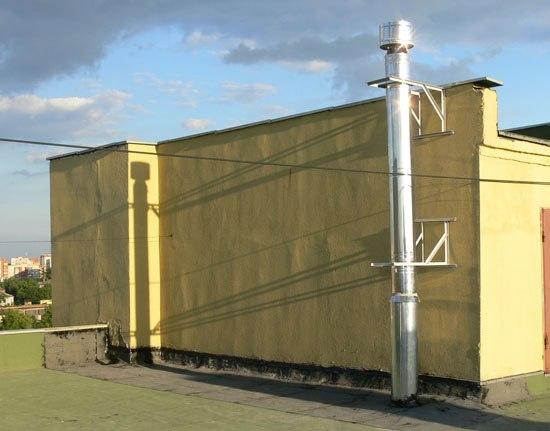 Наружный монтаж стального дымохода